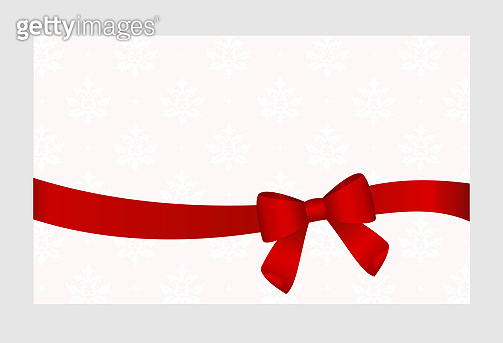 Invitation, Greeting or Gift Card With Red Ribbon And A Bow.  Gift Voucher Template with  place for text.