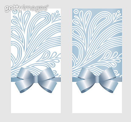 Invitation, Greeting or Gift Card With Blue Ribbon And A Bow  on Grey Decorative Elements  background.  Gift Voucher Template with  place for text.