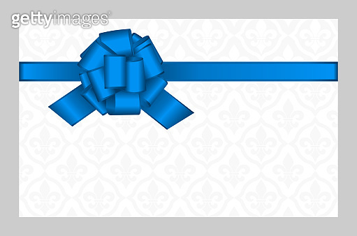 Invitation, Greeting or Gift Card With Blue Ribbon And A Bow  on Decorative Elements  background.  Gift Voucher Template with  place for text.