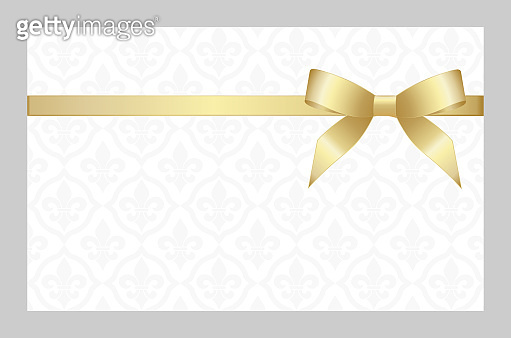 Invitation, Greeting or Gift Card With Golden Ribbon And A Bow  on Decorative Elements  background.  Gift Voucher Template with  place for text.