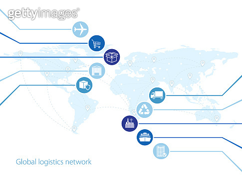 Global logistics network. Map global logistics partnership connection.  Similar world map with geolocation and logistics icons.  Flat design. Vector illustration EPS10.