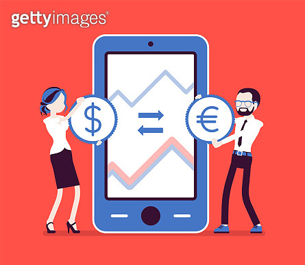 Mobile currency exchange, dollar and euro pair