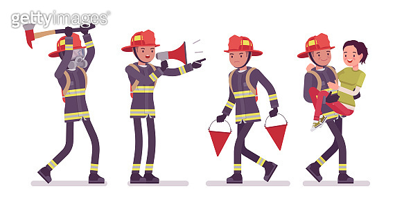 Young male firefighter at work