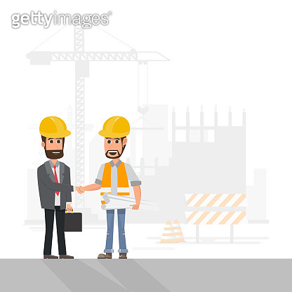 architect, foreman, engineering construction worker manage a project at building site