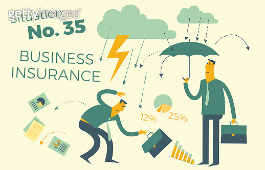 Business infographics with illustrations of business situations. Insurance services, insurance, protection of business interests. Insurance agent under an umbrella, businessman in the rain and lightning. Insurance case. Vector illustration.
