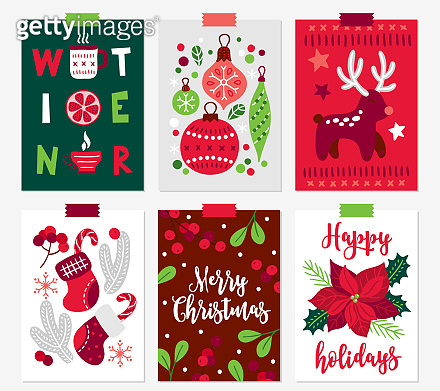 Set of Christmas greeting cards with hot drink, orange, ball