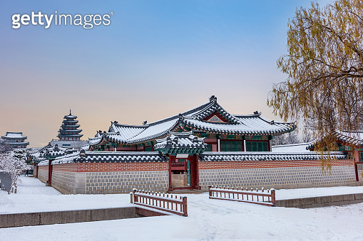 Gyeongbokgung Palace in winter of Seoul,South Korea.