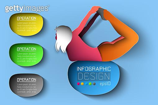 Silhouette girl yoga posture on infographic illustration.