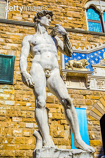 Statue of David by Michelangelo outside Palazzo Vecchio  (Old Palace) on Piazza della Signoria, Florence, Tuscany, Italy