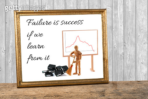 wooden mannequin motivating quotes - failure is success if we learn from it - sweeping folders