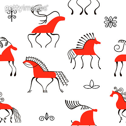 Six red horses seamless pattern. National scandinavian paintings. Folk handicrafts. Enchanting original ornaments. Simplicity.