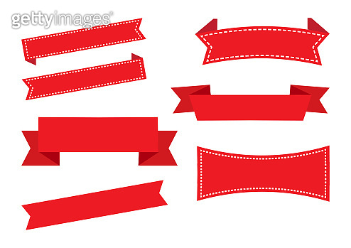 Ribbon banners, red set. Christmas decorations. Vector illustration