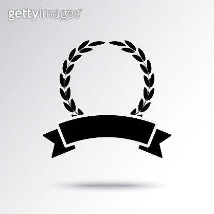 Garland and ribbon with shadow. Black and white icon. Vector illustration
