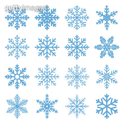 Set Winter Snowflake isolated on white