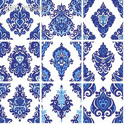 Seamless decorative patterns vector set retro geometric vinage collection