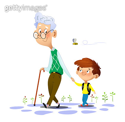 Grandfather walks with his grandson and talking to him