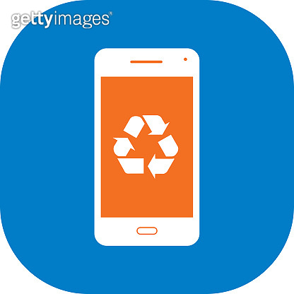 White Recycle Smart Phone Icon
