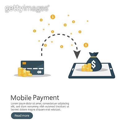 internet online mobile payment service concept. business money purchasing. shopping transaction method. electronic digital fund transfer. phone finance app technology. flat style vector illustration.