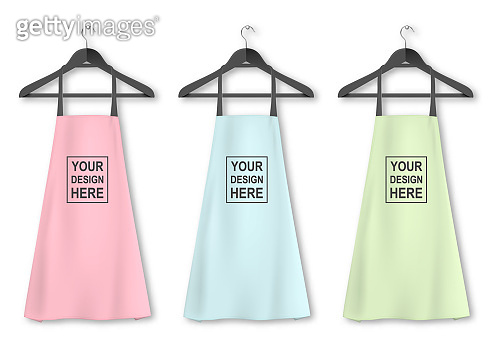 Vector cotton kitchen apron icon set with clothes hangers closeup isolated on white background. Pastel colors. Design template, mock up for branding, advertising etc. Cooking or baker concept