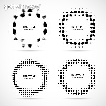 Halftone circle frame dots logo emblem set isolated on white background. Circular Design element for medical, treatment, technology. Round border Icon using halftone circle dots texture. Vector
