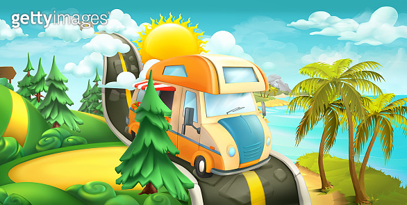 Road to clouds, sea and forest. Nature worldscape 3d vector panorama