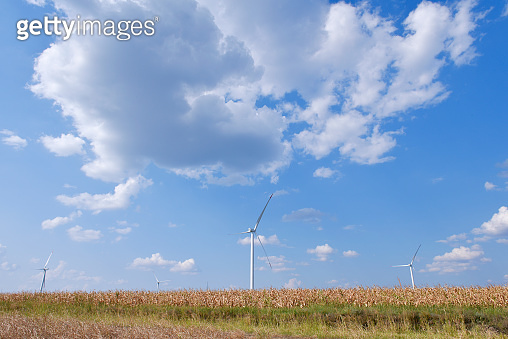 Beautiful landscape with windmills in the distance