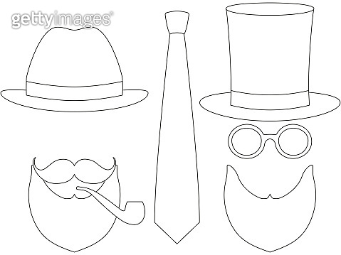 55a43aa7 Icon line art poster man father dad day avatar elements set tall hat  glasses mustache smoking