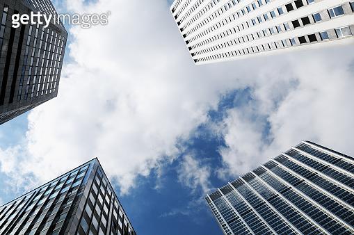 Skyscrapers from below, Lower Manhattan, NYC.