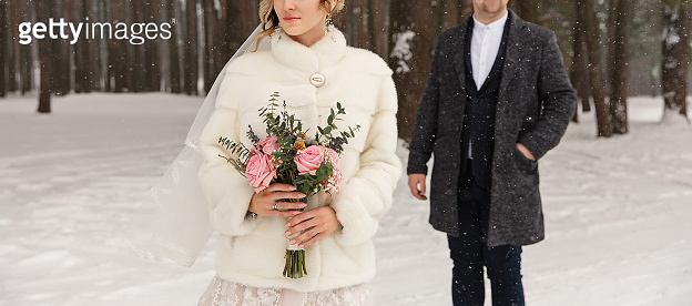 Winter wedding, bride and groom