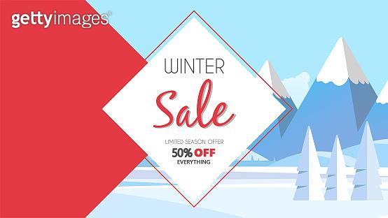 Winter sale banner, vector illustration with winter landscape. Special offer.
