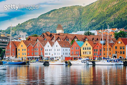View of historical buildings, Bryggen in Bergen, Norway. UNESCO World Heritage Site