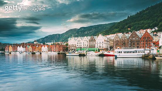 Bergen, Norway. View Of Historical Architecture, Buildings, Bryggen In Bergen, Norway. UNESCO World Heritage Site. Famous Street