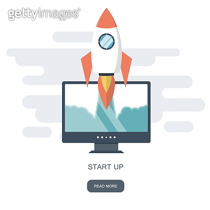 Start up business concept for mobile app development or other disruptive digital business ideas. Cartoon rocket launching from smart phone tablet. Flat vector illustration