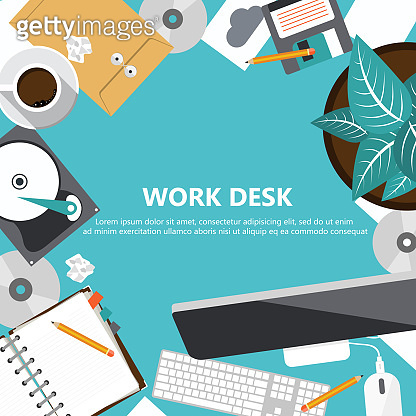 Office work desk concept. Work space, workplace, office, indoor. Flat banners for business and management purposes. Flat vector illustration