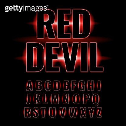 red neon glowing alphabet.
