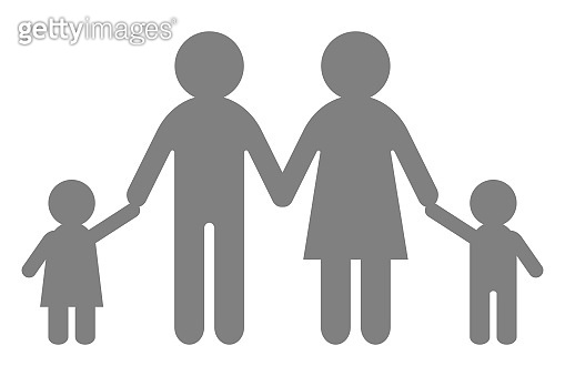 Full heterosexual family symbol. Four people. Vector illustration
