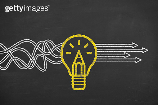 Innovative idea solution concept on blackboard