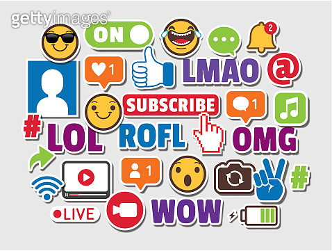 Internet Acronyms Social Media Emoticons Online Chat Slang Icons