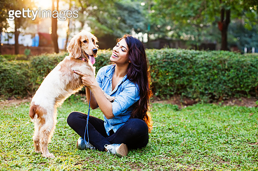 Indian woman with her beloved pet