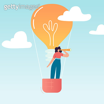 Business Woman Flying on Air Balloon with Light Bulb. Female Character Looking through spyglass in search of creative idea. Business Vision Concept. Vector illustration