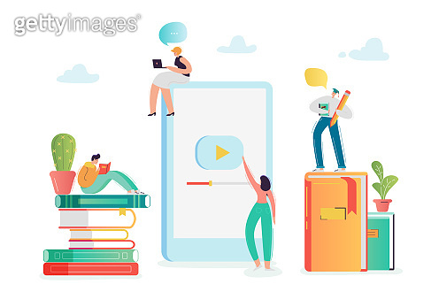 Online Education Concept with Students Characters Learning on Webinar. E-learning Technology, Internet Library, Graduation, Distant Training Courses. Vector illustration