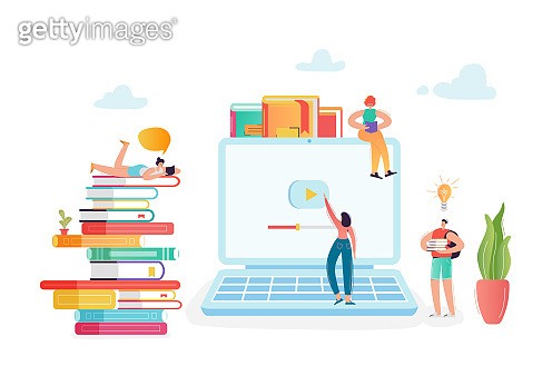 Online Education Concept with Students Characters Learning on Webinar. E-learning Technology, Internet Library, Graduation, Training Courses. Vector illustration