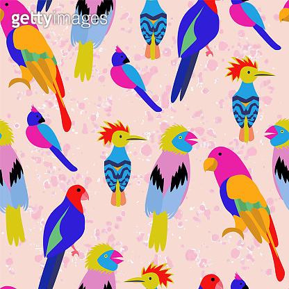 Exotic tropical birds paradise parrot, toucan pattern.