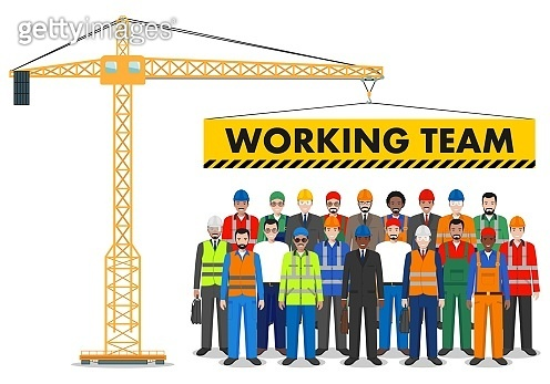 Building tower crane. Group of worker, builder and engineer standing together in row. Working team and teamwork concept. Different nationalities and dress styles. Design people characters.
