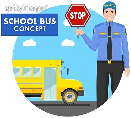 Education concept. Detailed illustration of driver with stop sign in his hand and yellow school bus in flat style on white background. Vector illustration.