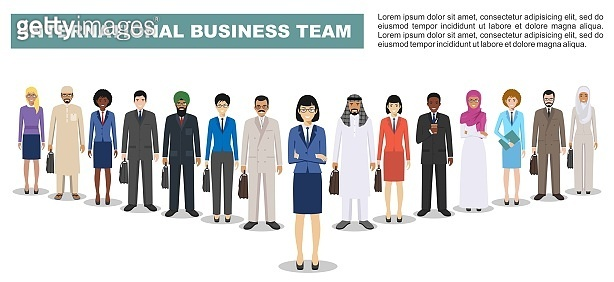 Group of business men and women, working people standing together on white background in flat style. Business team and teamwork concept. Different nationalities and dress styles. Flat design people characters.