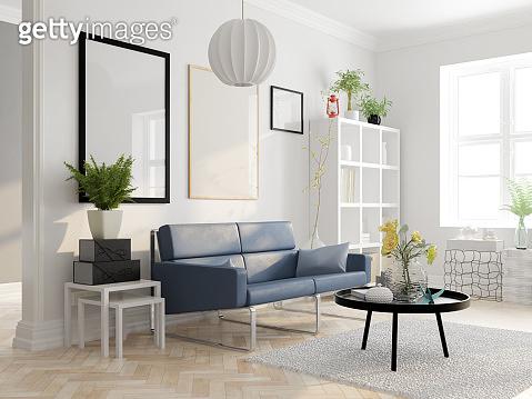 Scandinavian style interior design 3D rendering