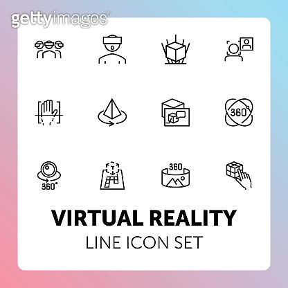 Virtual reality line icon set
