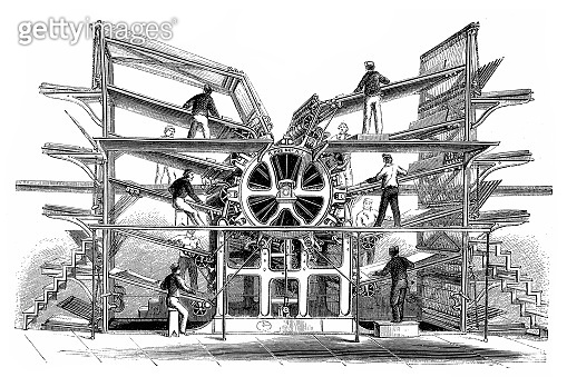 Rotary printing press, invented by Richard March Hoe (1812 1886)