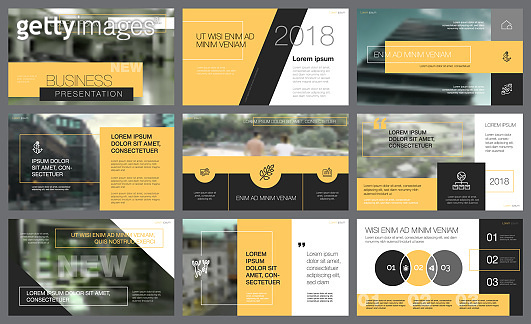 Yellow and black elements for presentation slide template